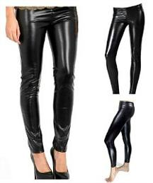 Black, Shiny Wet-Look Leggings