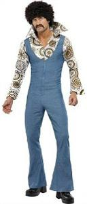 Blue Disco Jumpsuit for Men with Big Collar, Pattern Shirt