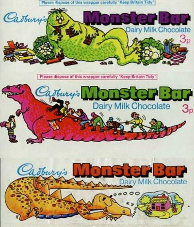 Three Cadbury's Monster Bar wrappers
