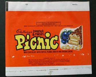 Cadbury's Picnic - choclate bar wrapper from the 1970s