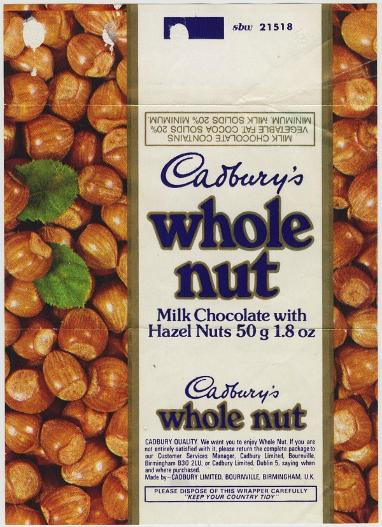 Cadbury's Whole Nut wrapper 1980s