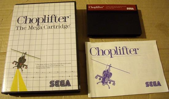 Choplifter game manual and cartridge for Sega Master System