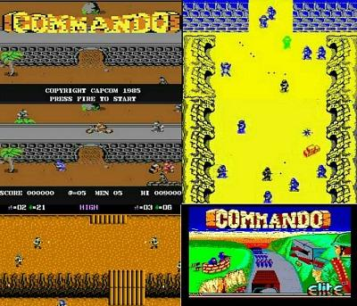 Commando Computer Game screenshot montage - C64, Atari 7800, ZX Spectrum and Amstrad CPC