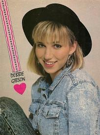 Debbie Gibson wearing acid washed denim in the 1980s