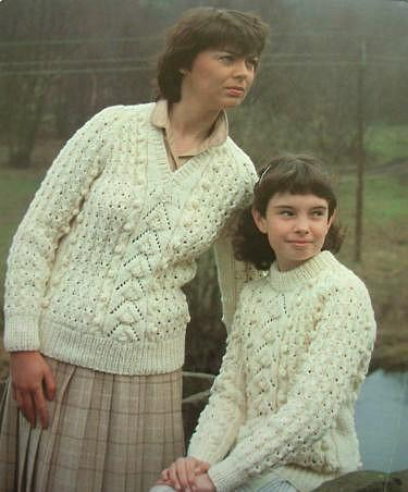 aran sweaters with bobbles - Jarol knitting pattern 1980s