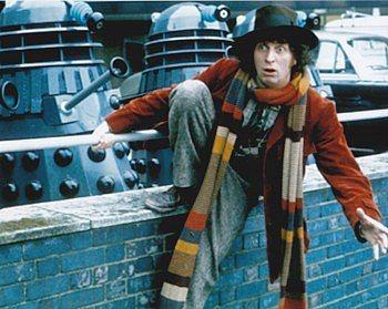 The fourth Doctor Tom Baker with the daleks