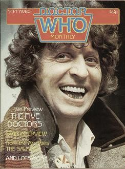 Tom Baker on the cover of Doctor Who Monthly magazine in September 1980