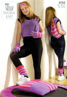 King Cole 80s Knitting Pattern for crop top with matching leg warmers and mittens