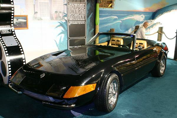 Black 1972 Ferrari Daytona Spyder replica driven by Don Johnson in Miami Vice