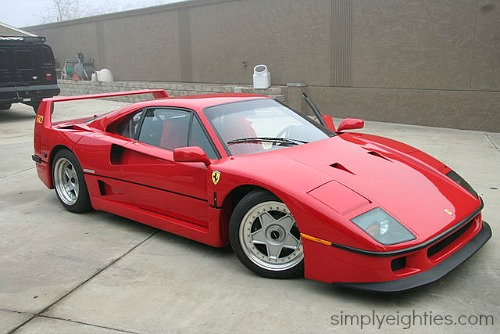 Red Ferrari F40 side view