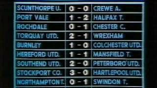 Football results screen on Grandstand (BBC1) in 1986