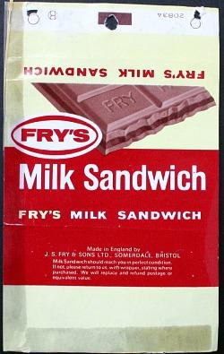 Fry's Milk Sandwich - old chocolate bar wrapper