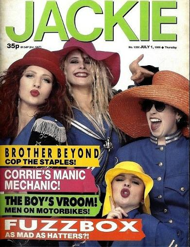 Fuzzbox on the cover of Jackie magazine in July 1989