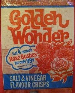 Golden Wonder salt & vinegar crisps packet from 1975