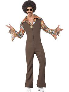 1970s Groovy Boogie Disco Costume for Men - brown jumpsuit