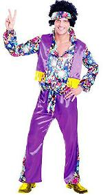 Groovy Hippy Purple Disco Guy Costume for Adults