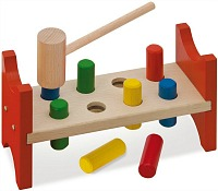 eight peg hammer bench toy for toddler's