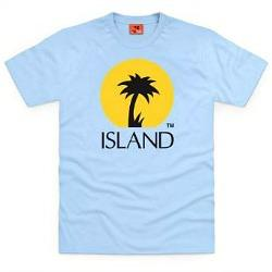 Island Records Palm Tree Logo T-shirt sky blue