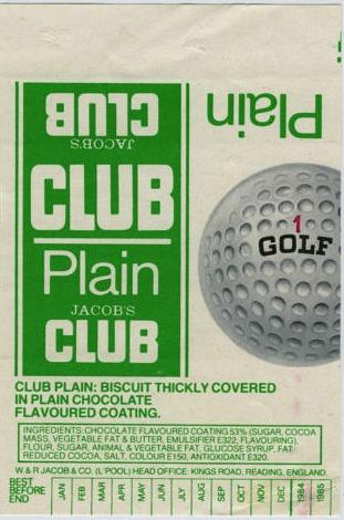 Jacob's Plain Club Biscuit 1980s wrapper