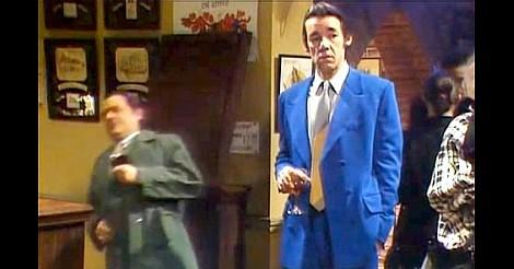Del Boy falls through the bar as Trigger looks on
