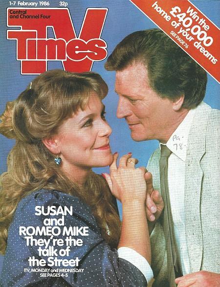 TV Times 1-7 Feb 1986 ft. Mike Baldwin and Susan Barlow