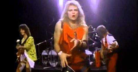 Van Halen performing Jump on stage in the 80s