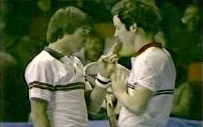 Jimmy Connors and John McEnroe have an argument
