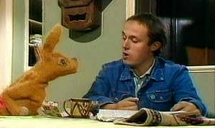 Tom (Jonathan Kidd) with Hartley Hare in Pipkins