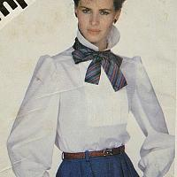 1983 blouse with puffed sleeves and neck scarf