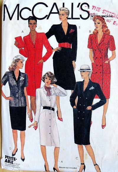 McCall's 1983 sewing pattern - dresses and coats with shoulder pads