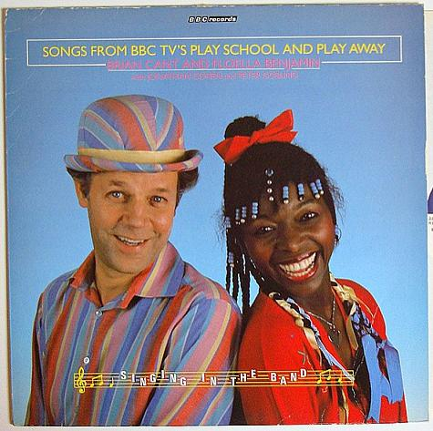 Brian Cant and Floella Benjamin in the sleeve of BBC TV's Play School and Play Away LP