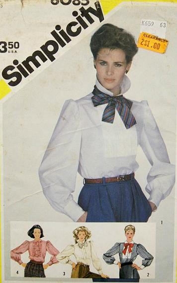 Puffed sleeves blouse and neck scarf - 1983 sewing pattern