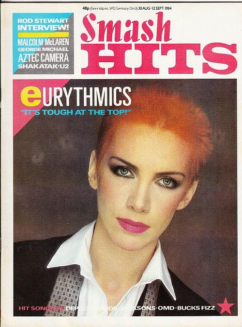Annie Lennox on the cover of Smash Hits Magazine - 30 August-12 September 1984