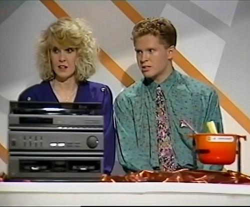 The conveyor belt with fondue set on Bruce Forsyth's Generation Game 7th Sept 1990