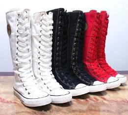 Knee High Canvas Punk Boots