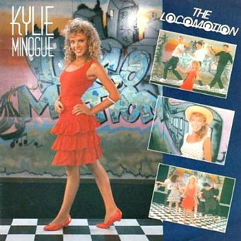 Kylie Monogue in a ra-ra skirt on the cover of her 80s single The Locomotion