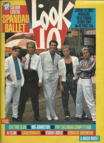 Spandau Ballet on the cover of Look-In magazine (Nov 1984)