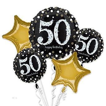 50th Birthday Balloons, gold and black