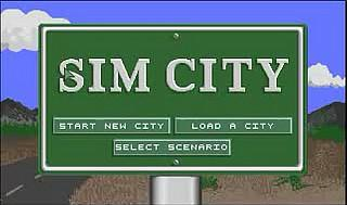 Sim City title screen on Commodore Amiga