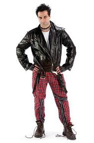 Punk Costume for Men - tartan bondage trousers, leather biker jacket