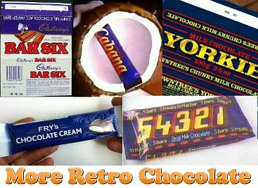 Old Chocolate Bars - Bar Six, Cabana, Yorkie, Fry's Chocolate Cream and 54321