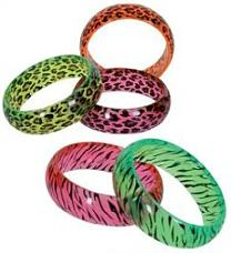 Neon tiger and leopard print bangles for 80s dress-up