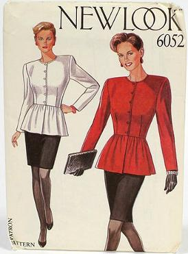 New Look sewing pattern for Ladies peplum top with shoulder pads & fitted pencil skirt