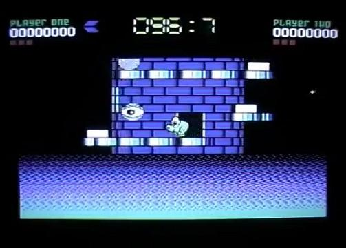 Nebulus Game C64 Level 1 screenshot