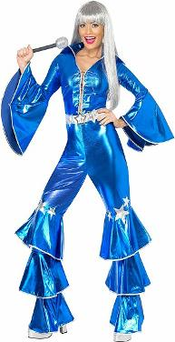 Blue 70s Disco Costume for Women