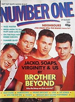 Brother Beyond on the cover of Number One magazine - 27th Aug 1988