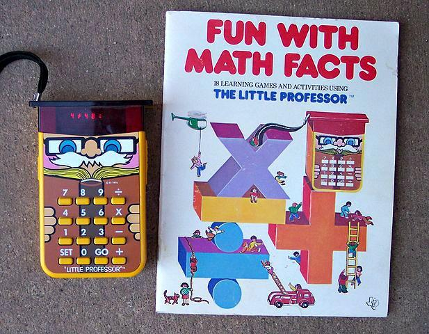 Little Professor calculator toy with booklet