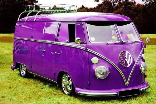 Modified Purple VW Type 2 Panel Van