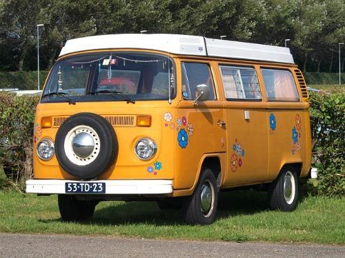 Orange VW Type 2 Flower Power Camper