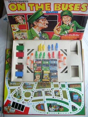 Box with contents of the On The Buses game